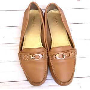 Coach Fortunata Tan Leather Flat Loafers Size 8